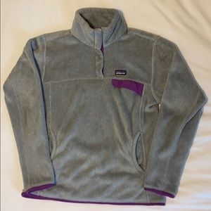 Women's Grey and Purple Patagonia Pullover